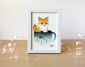 Art Print Fox in a Teacup 5x7