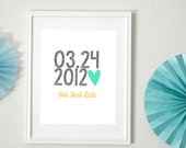 Personalized Wedding Date with Heart 8x10 Art Print- Special Date, Engagement, Couples Date
