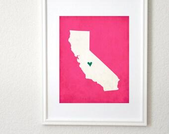 California State Art Silhouette Map Customizable Print