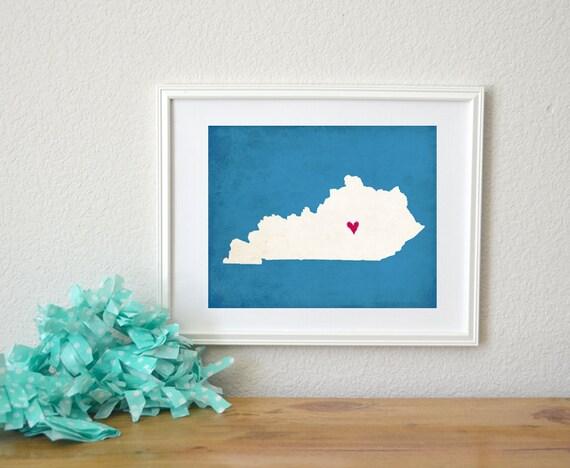 Kentucky Silhouette State Map Customizable Art Print