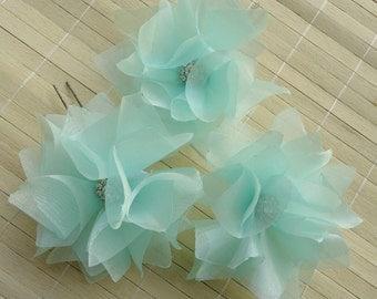 Bridal Hair pinsX3, Wedding Hair Accessories, Flower Hair Pins, Green Flower Hair Pins, Bridal Hair Accessories, Wedding Hair Pins