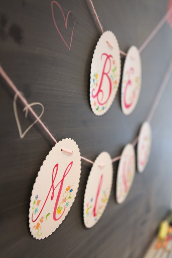 hand-painted be mine floral garland banner