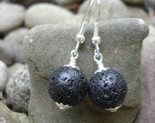 Black Lava Stone Earrings, Volcanic Rock, Magma, Earthen Jewelry, Natural Jewelry, Everyday Earrings,Black and Silver,Essential Oil Earrings