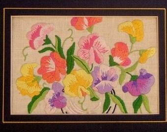Embroidery Sampler of English Sweet Pea Flowers Vintage Needlework Needlepoint