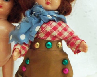 THREE Vintage Creepy Novelty Dolls with Mohair Wigs, Fully Articulated, Painted Faces, Blond, Brunette, Redhead, Cowgirl