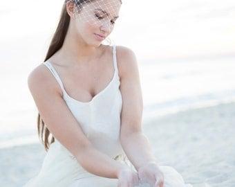 Bridal bow headband with birdcage veil, bridal headband birdcage, wedding rhinestone veil