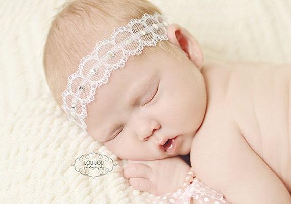 Blessing Headband, Christening Headband, White Lace Headband, Chloe Reese, Adjustable Headband, Baby Headband, Newborn Photography Prop