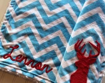 Chevron Minky Deer Baby Blanket, Personalized Turquoise Chevron Blanket, Deer Baby Blanket, Hunting Baby Blanket, Woodland Baby Blanket