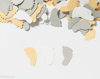 Baby Shower Decoration- Footprint Confetti - Yellow and Gray