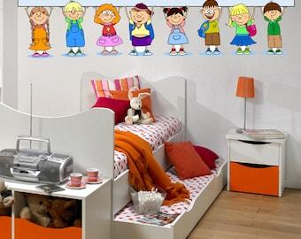 Kids School Children 2 - Full Color Wall Decal Vinyl Decor Art Sticker Removable Mural Modern B120