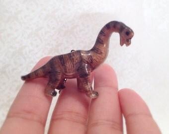 Standing Dinosaur Necklace. Natural History. Miniature Cutie. Porcelain Animal. Pocket Friend. Brass. Vintage Style. Gift.