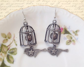 Antique Silver Birdcage Dangle Earrings. Gunmetal. 10 Dollars. Woodland. Gifts for Her. Unique Bird Jewelry. Cages. Stars. Hook Earrings.