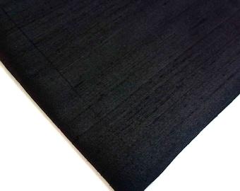 Indian Silk Fabric - Pure Silk Dupioni - Raw Mulberry Silk - Solid Black - Indian Dupioni Silk -Dupioni Silk