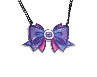 Kawaii Bow Necklace, Eyeball, Creepy Cute, Pastel Goth Laser Cut Pendant, Perspex