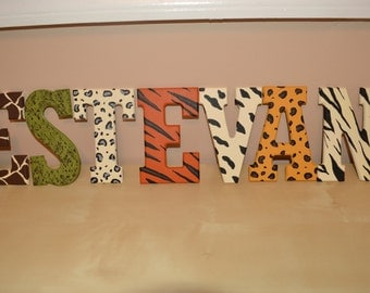 Handpainted animal print letters