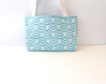 Teal Scalloped Tote Bag - Teal Purse - Teal Swirl Purse