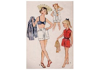 50s Girl's Swimsuit Bathing Suit Bikini Shorts Beach Shirt Bra Top Sleeveless Blouse Playsuit Simplicity 3906 Sewing Pattern Size 8 Bust 26