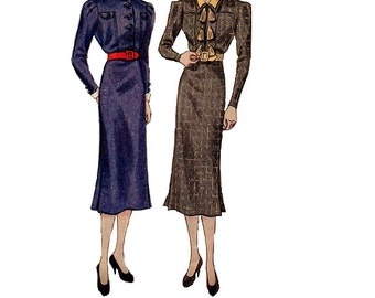 Simplicity 2236 Sewing Pattern Rare 1930s High Fashion Dress Lap Pleat Skirt High Neck Shawl Double Collar Blouse Depression Era Bust 34