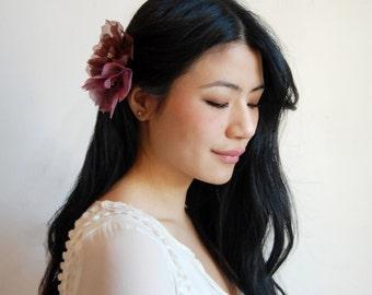 Purple Hair Flower, Radiant Orchid hair flower, Bridesmaid's Hair Accessory, Purple Bridal Hair clip, Silk Flower Hairclip