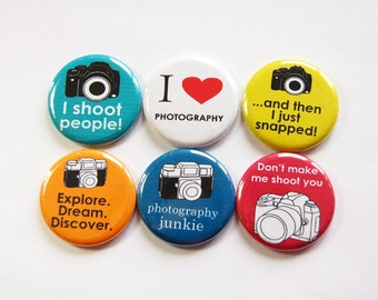 Camera Magnets, Photography Magnets, Button magnets, Kitchen Magnets, Fridge Magnet, funny magnet, gift for photographer, photography (3252)
