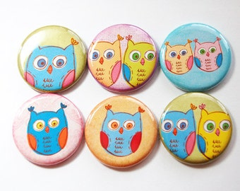 Owl Magnets, Nature Magnets, button magnets, Fridge Magnets, Kitchen Magnets, magnet set, owls, pastel colors, stocking stuffer (3429)