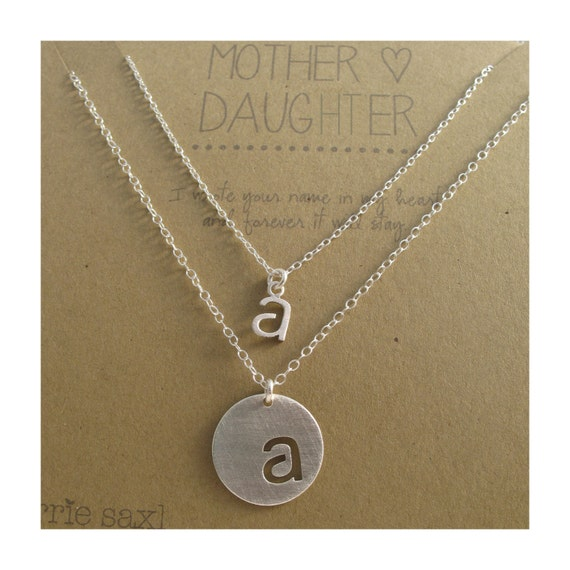 Personalized Mother Daughter Necklaces. Back to school. Jewelry gift. Initial necklace. Initial jewelry. Personalized gift. Push present