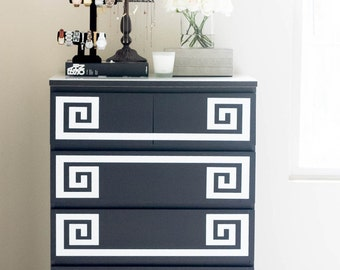 Decals for Ikea Furniture Hack - Greek Key Decals for Malm Dresser - Ikea Hack Decals