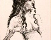 "Life Drawing Figure Study Female Nude Ink 6 1/2 X4 1/2"" Double Matted 10X8"" No.193"