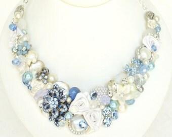 Blue Bridal Necklace- Something Blue Necklace- Blue Bib Necklace- Rhinestone & Pearl Necklace -Vintage Inspired Bib- Denim Blue Necklace