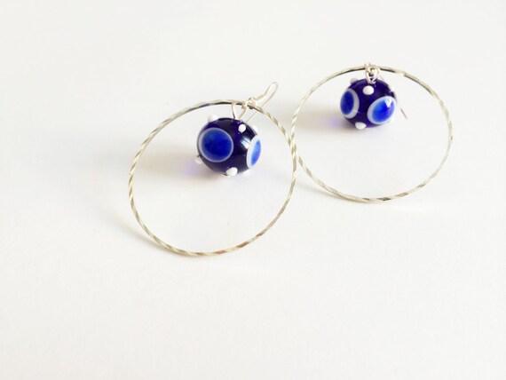 lampwork glass blue round dangle earrings