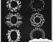Digital Chalk Frames // Chalkboard Clip Art Clipart // Photographers//Decorative Border // Craft DIY Invitations // Commercial Use