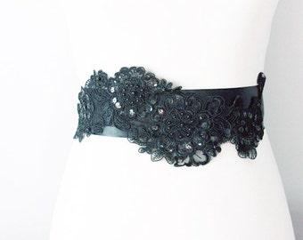 Black Beaded Organza Flower Ribbon Sash Belt Wedding Dress Sashes Belts - Bridesmaid Bridal Flower Girl - Posh Double Sided Ribbon