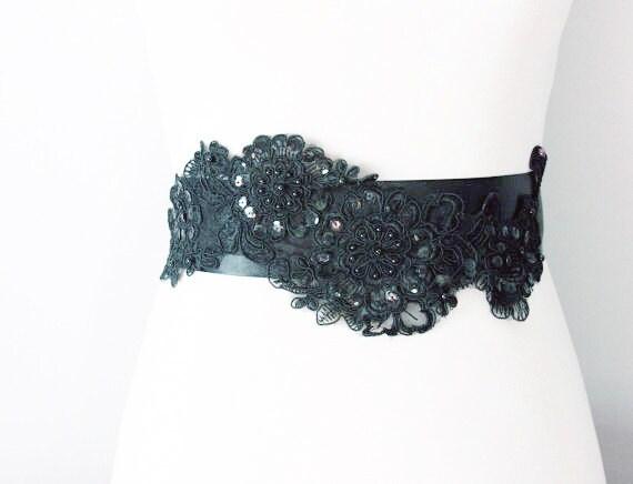 black beaded organza flower ribbon sash belt wedding dress