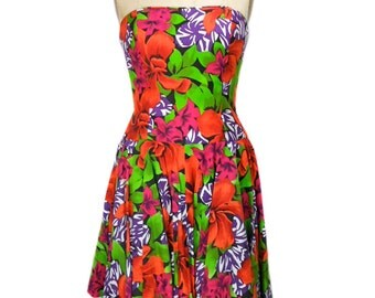 vintage 1980s floral party dress / A.J. Bari / strapless dress / tiki vlv hawaiian dress / 80s dress / women's vintage dress / tag size 12
