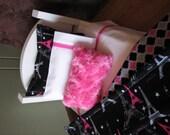 "Modern ""Paris"" Themed American Girl / 18"" doll sized bedding - hot pink / black"