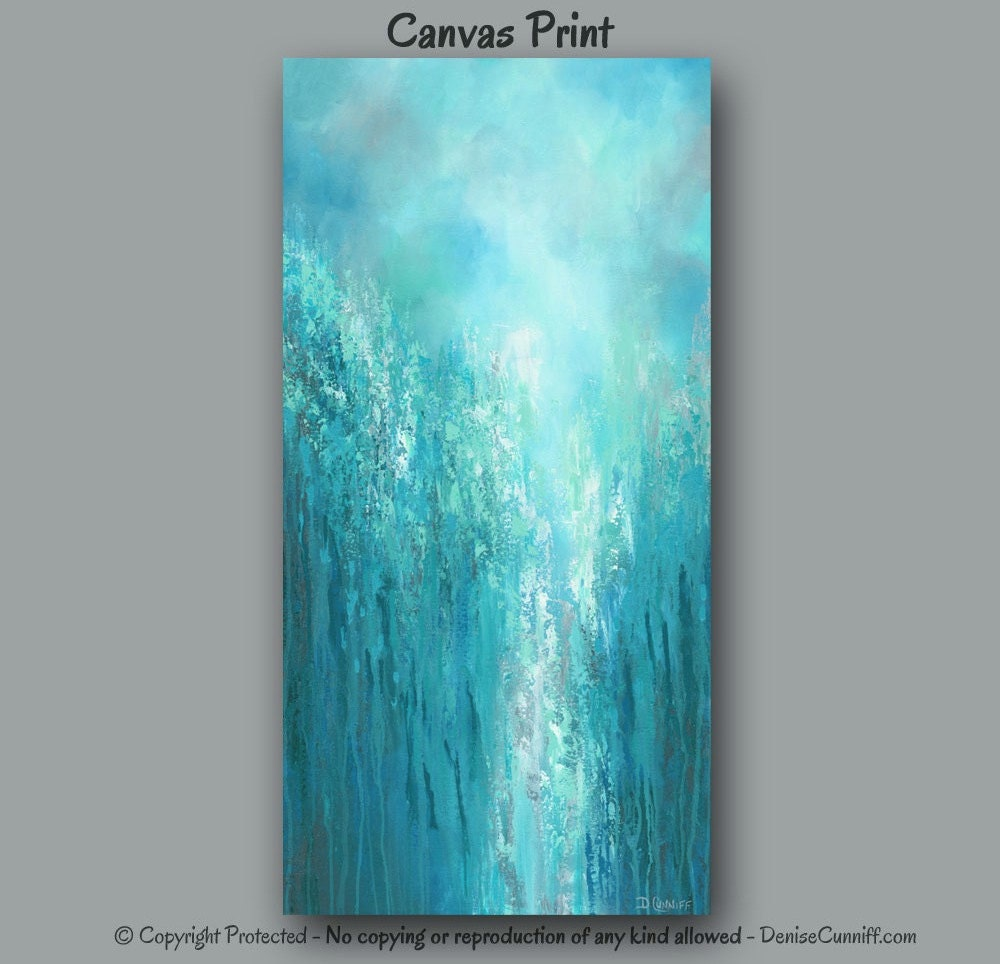 Extra Large Wall Art Teal Abstract Turquoise Home Decor