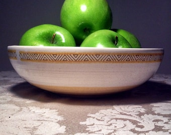 Vintage Franciscan Ware Hacienda Gold Serving Bowl White and Yellow Earthenware