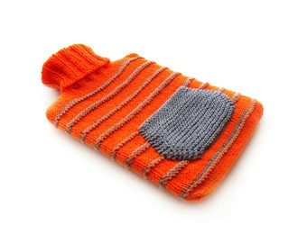 Orange and Grey Striped Knit Hot-water Bottle Cover