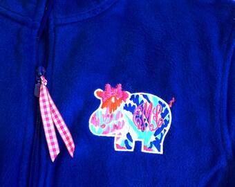 Lilly Pulizter Fabric Critter Monogrammed 1/4 Zip Fleece Pullover - Bulldog - Crab - Whale - Hippo - Owl - Gator - Mason Jar - Elephant