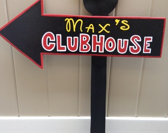 Wood Mickey Mouse or Minnie Mouse Clubhouse Sign - Birthday Party Decorations - All Black - Unique design