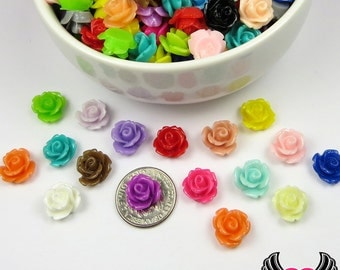 10mm Resin Flower ROSE CABOCHONS Mixed Assortment, Small Flower Cabochons, Tiny Flower Cabochon