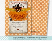 Halloween Pumpkin Carving Party printable invitation, front and back template by The Silly Nilly Studio