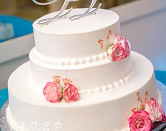 TWO INITIALS Wedding Cake Toppers with Fine Set-In Rhinestones/ Monogram Two Initials Wedding Cake Topper/ Silver Metal Cake Topper