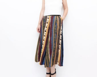 Vintage striped women skirt pants / 90s high waist medium culottes midi skirt