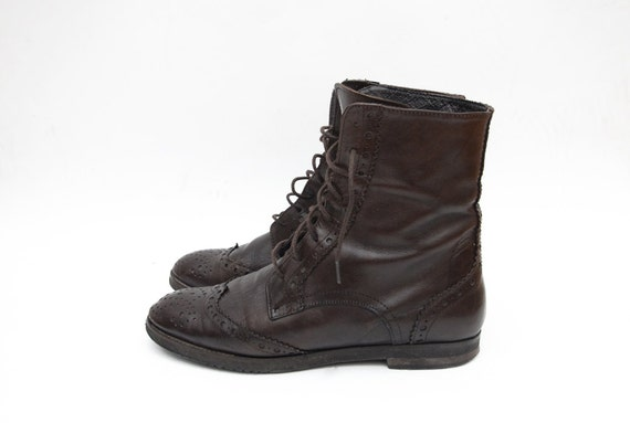 vintage chocolate brown leather lace up by