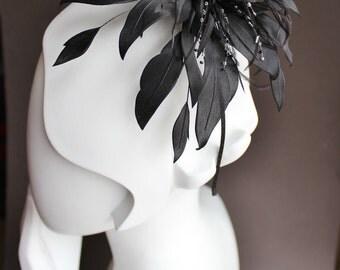 Black fascinator, flower fascinator, black headband, black headdress, black wedding