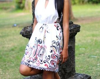 White summer dress, Sundress, beach cover up, mini casual dress