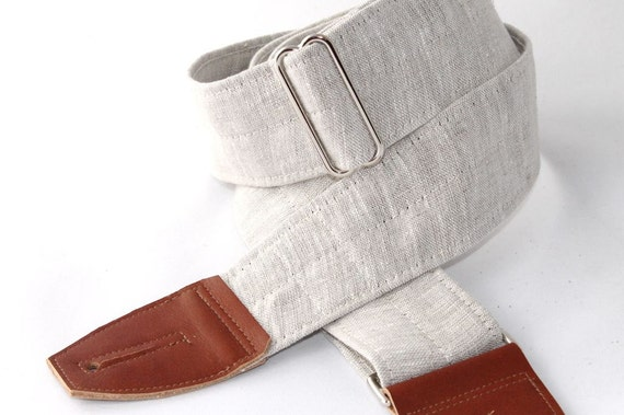 Classic Linen Guitar Strap for Men or Women in Oatmeal with Leather Ends, Adjustable Musical Strap