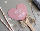 Small Wedding Program Fan - Heart Shape - Beau & Arrow Wedding Range - Mini Order of Service