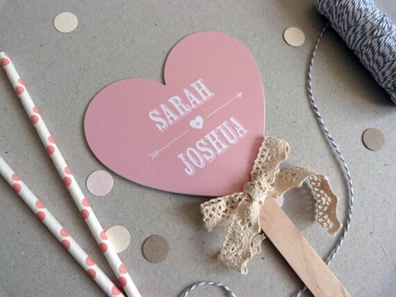 Small Wedding Program Fan Heart Shape Beau Amp Arrow Wedding